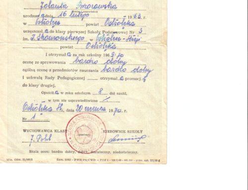 Świadectwo szkolne z roku szkolnego 1969/70.