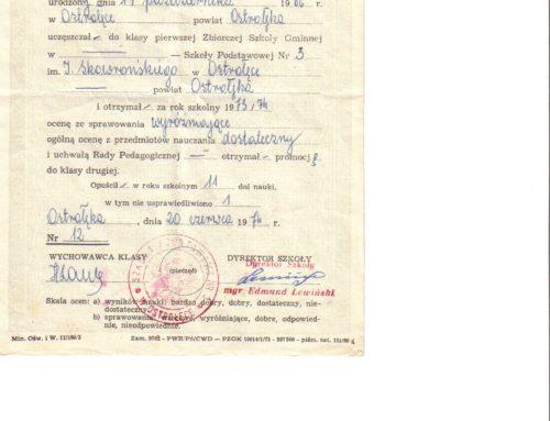 Świadectwo szkolne z roku szkolnego 1973/74.
